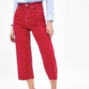 Zara High Rise Red Culotte Denim Jeans Premium Collection NWT